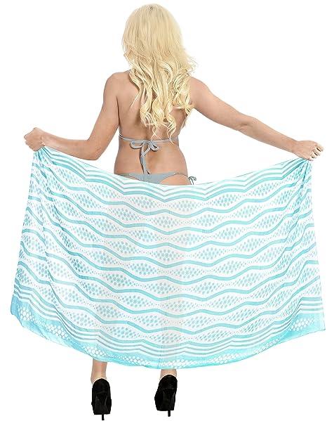 b7bab8c220 LA LEELA Sheer Chiffon Scarf Dress Bikini Wrap Sarong Printed  78 quot X39 quot  Blue 577