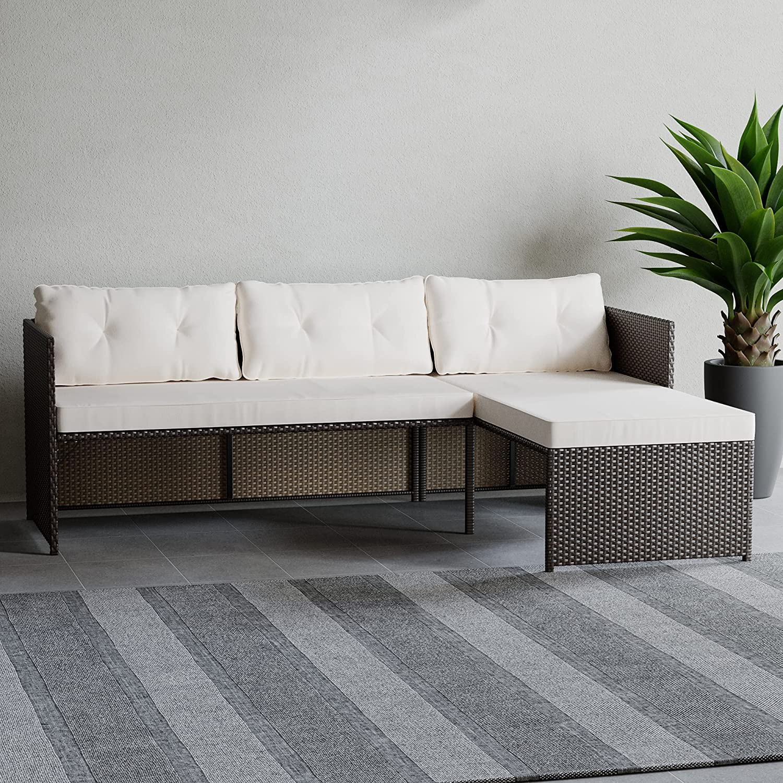 Edenbrook Bayview RattanPatioFurniture - Mix and Match Outdoor Furniture, L-Shape Sofa Only, Brown Rattan/Cream