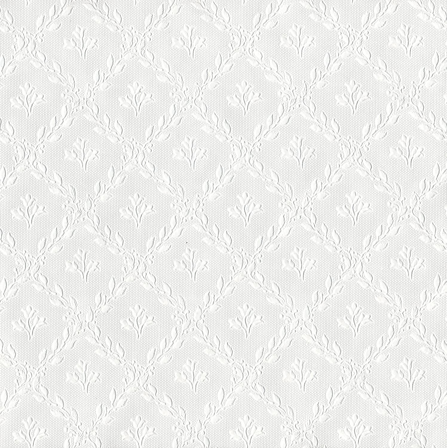 Brewster RD393 Anaglypta Paintable Leaf Trellis with Flower Wallpaper, 21-Inch by 396-Inch, White
