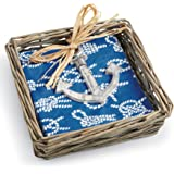 Mud Pie Willow Basket with Napkin & Anchor Weight, Blue