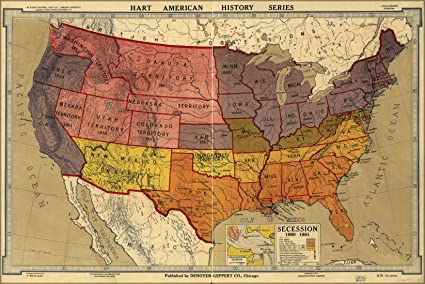 Amazon.com: 24x36 Poster; Civil War Map Of United States ...