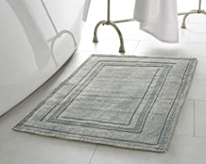 Jean Pierre New York Cotton StoneWash Racetrack 17x24/20x32 in. 2-Piece Bath Rug Set, Gray Blue