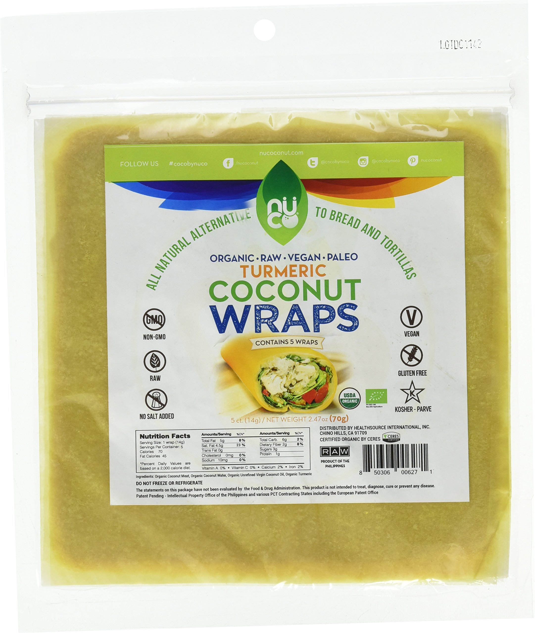 NUCO Certified ORGANIC Paleo Gluten Free Vegan Turmeric Coconut Wraps, 5 Count (One Pack of Five Wraps)