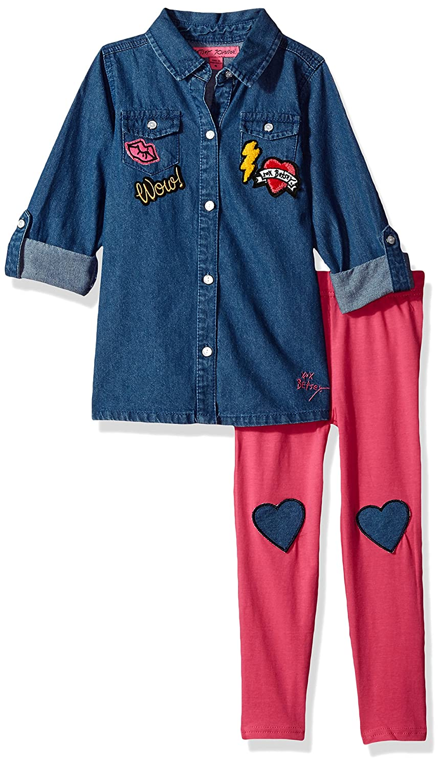 Betsey Johnson Girls 2 Pc Denim Knee Patch Legging Set