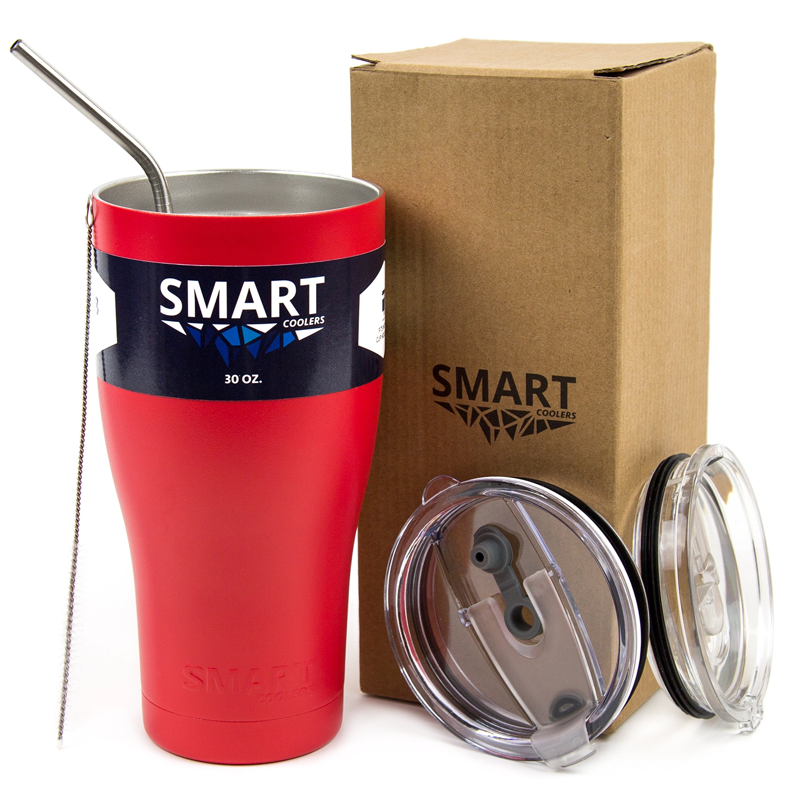 Tumbler 30 Oz Color - Smart Coolers - Ultra-Tough Double Wall Stainless Steel Tumbler Cup - Premium Insulated Mug - Keep Coffee - Compare to Yeti - Powder Coated - 2 Lids + Straw + Gift Box - Ruby Red