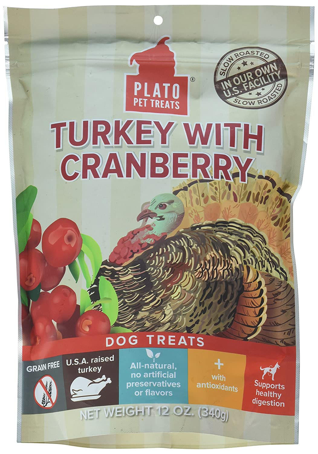 12 oz Plato PET Treats 595163 Plato Eos Turkey Cranberry for Pets 12-Ounce