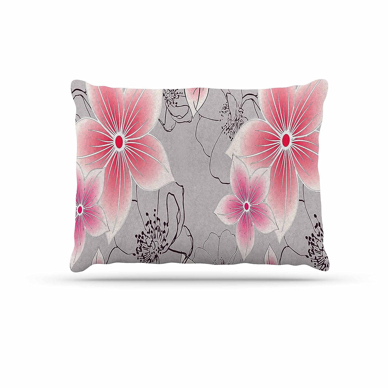KESS InHouse Alison Coxon Grey & Pink Floral Grey Pink Dog Bed, 30  x 40
