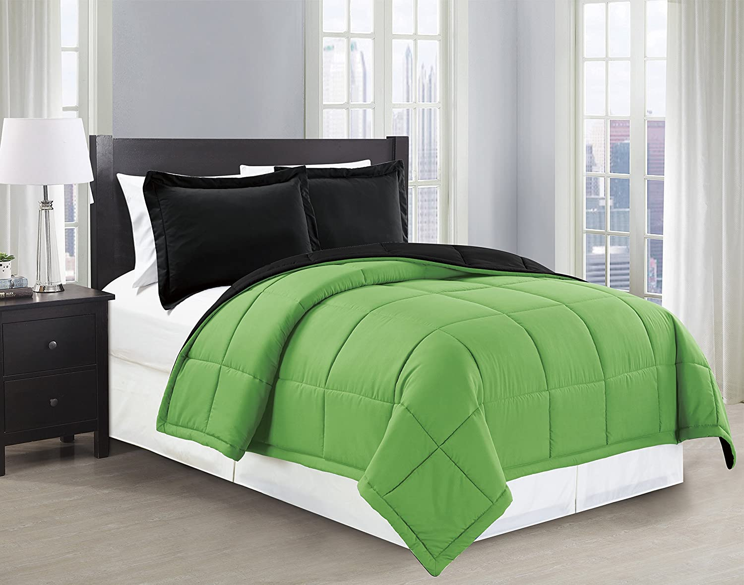 Mk Collection Down Alternative Comforter Set 2pc twin, Black/Lime Green
