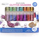 Glitter Shaker 24 Multi Colored Jar Set, Extra Fine For Scrapbooking, Gel Nails, Making Slime, Greeting Cards, Great For Holiday Decorations, Bonus Craft Glue Bottle