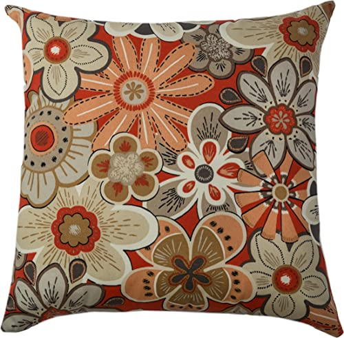 Rizzy Home TFV022 Prefilled with Knife Cut Edges Printed on Both Sides Decorative Pillow, 22 by 22-Inch, Red Pepper