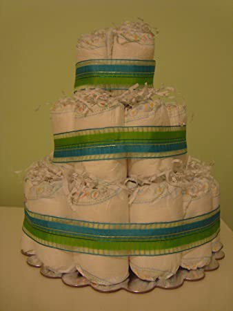 Amazoncom Bluegreen Ribbon 3 Layer Baby Boy Diaper Cake Comes