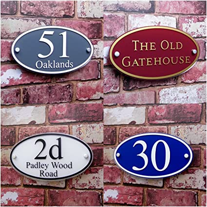 b03eeabb5819 House Address Number Plaque Name/Street Plate Large 'Oval' MADE TO ORDER  Personalise