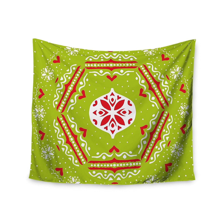Kess InHouse Miranda MOL Snowjoy Green Red Wall Tapestry 51 X 60