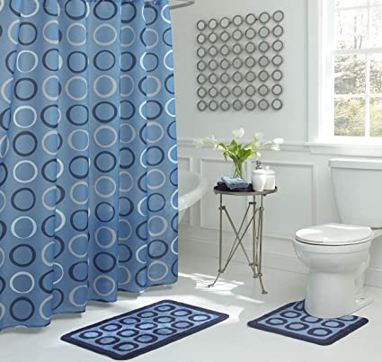 Light Blue Bathroom Decor.Bath Fusion Terrell 15 Piece Light Blue Bathroom Shower Set