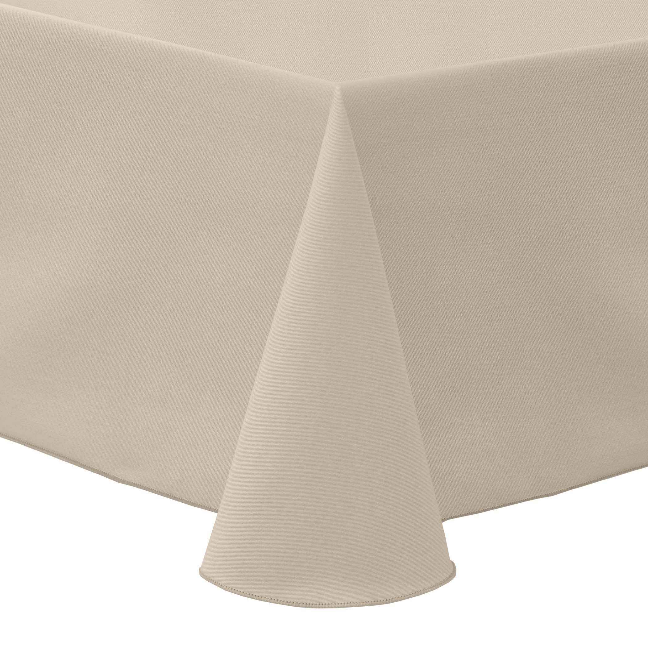 Ultimate Textile (3 Pack) Poly-cotton Twill 90 x 132-Inch Rectangular Tablecloth - for Restaurant and Catering, Hotel or Home Dining use, Beige