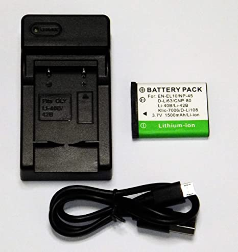 Replacement for Casio Exilim EX-S6 Battery and Charger Compatible with Casio NP-80 NP-82 Digital Camera Batteries and Chargers 800mAh 3.7V Lithium-Ion