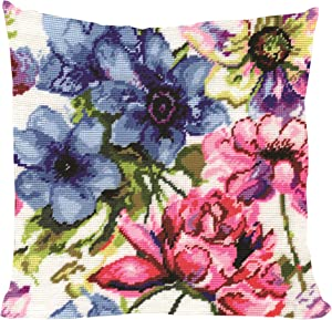 "Tobin 2619 Stitched in Acrylic Yarn Watercolor Floral Needlepoint Kit, 12"" by 12"", Multicolor"