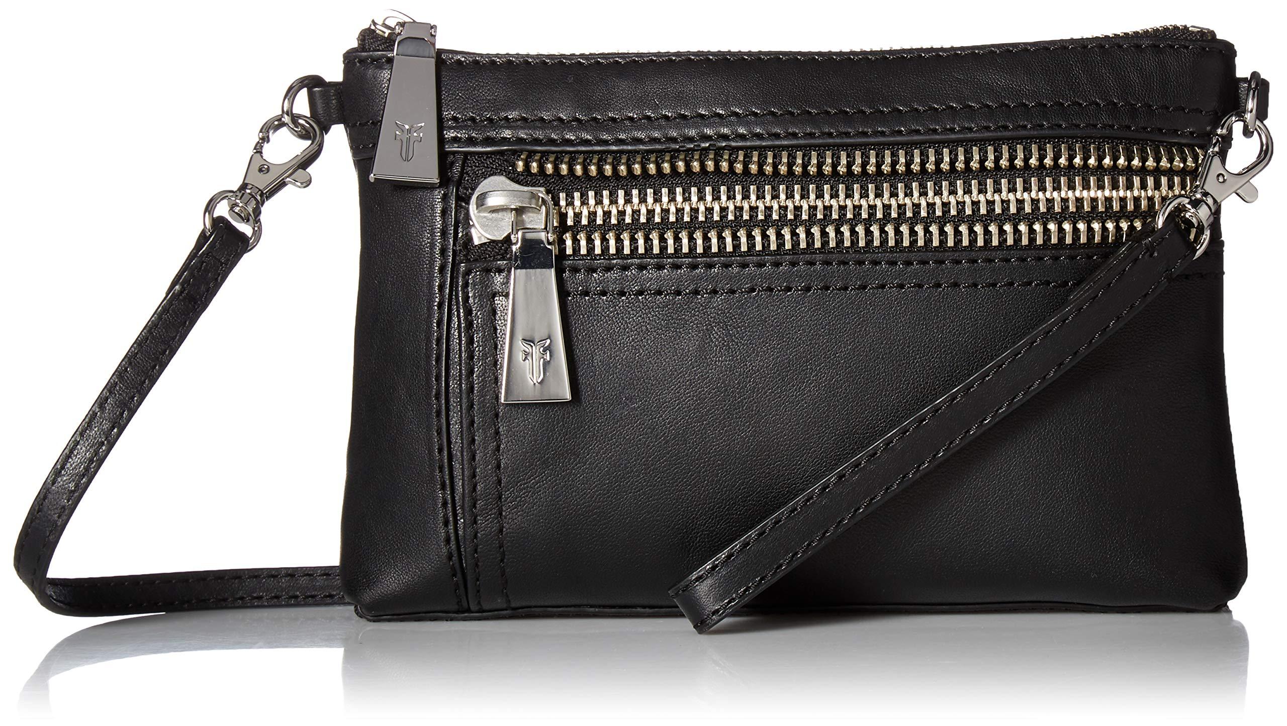 FRYE Lena Zip Leather Crossbody Wristlet Bag, black