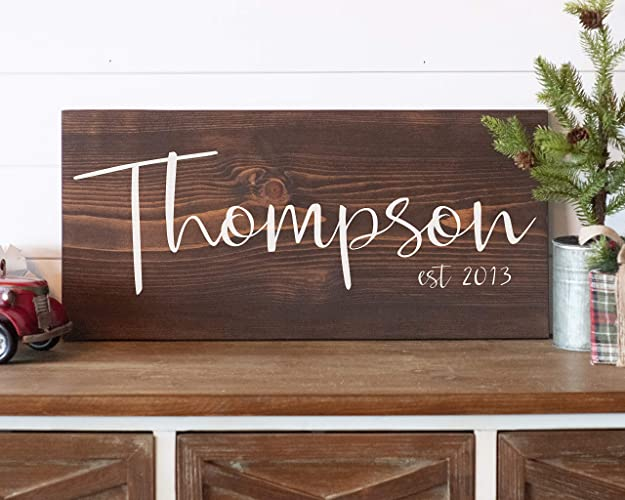 Last Name Signs For Home Family Established Wood Sign Personalized Family Wood Sign Wedding Gift For Her