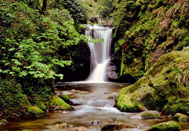Fototapete wald wasser  Fototapete (97279)- WATERFALL in the MOUNTAINS - Wasserfall Berge ...