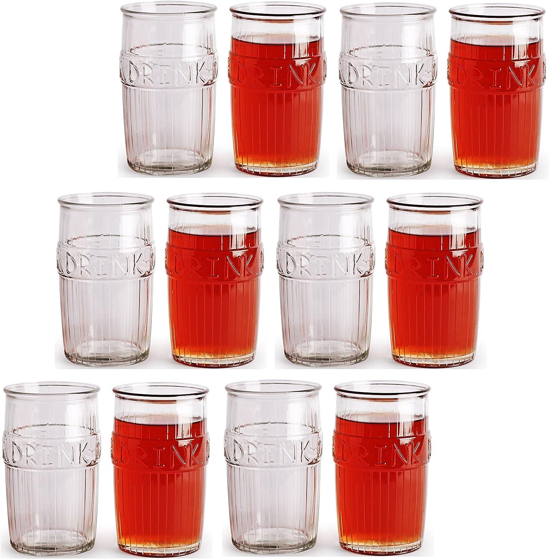 Set de 12 Circleware bebida cristal vasos, refrigeradores de 16 oz vasos de cristal de edición limitada cristal vaso vasos: Amazon.es: Hogar