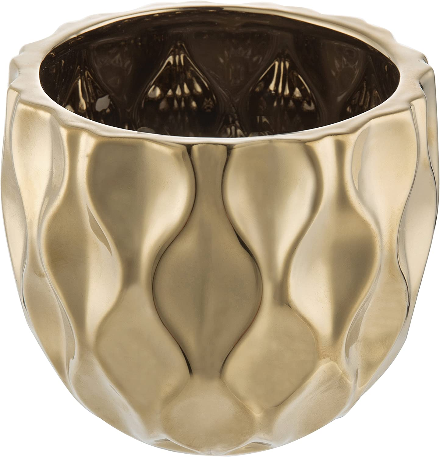 MyGift 6-Inch Modern Ceramic Planter with Metallic Gold-Tone Finish