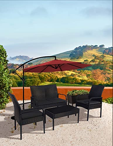 WO WESTIN OUTDOOR Sonoma 4 Piece Wicker All-Weather Resin Rattan Conversation Sofa Set