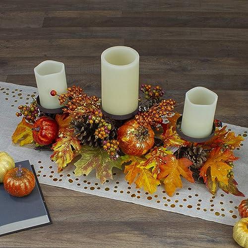Northlight 21″ Orange Fall Harvest Leaves and Pumpkins Candle Holder