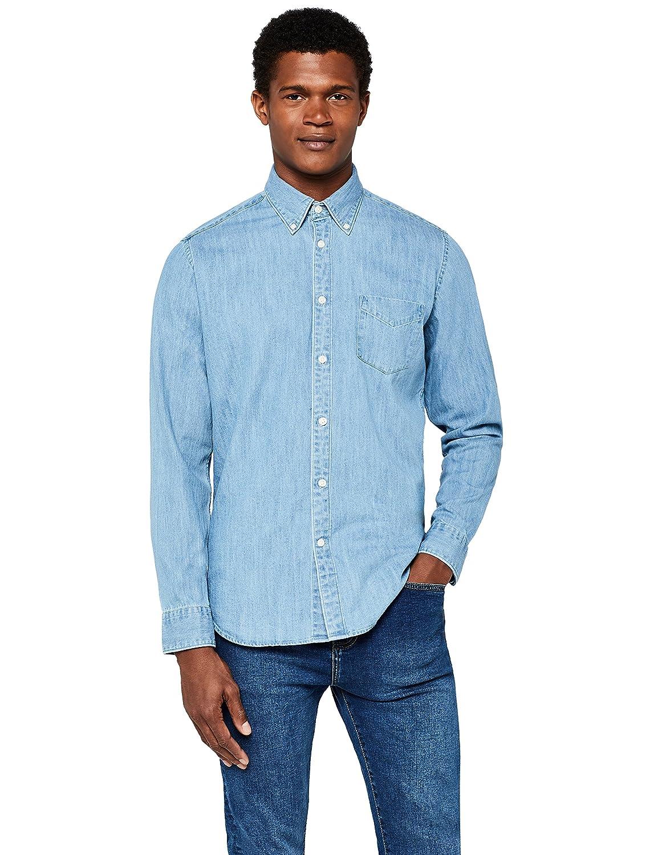 MERAKI Camicia di Jeans a Manica Lunga Regular Fit Uomo 632059