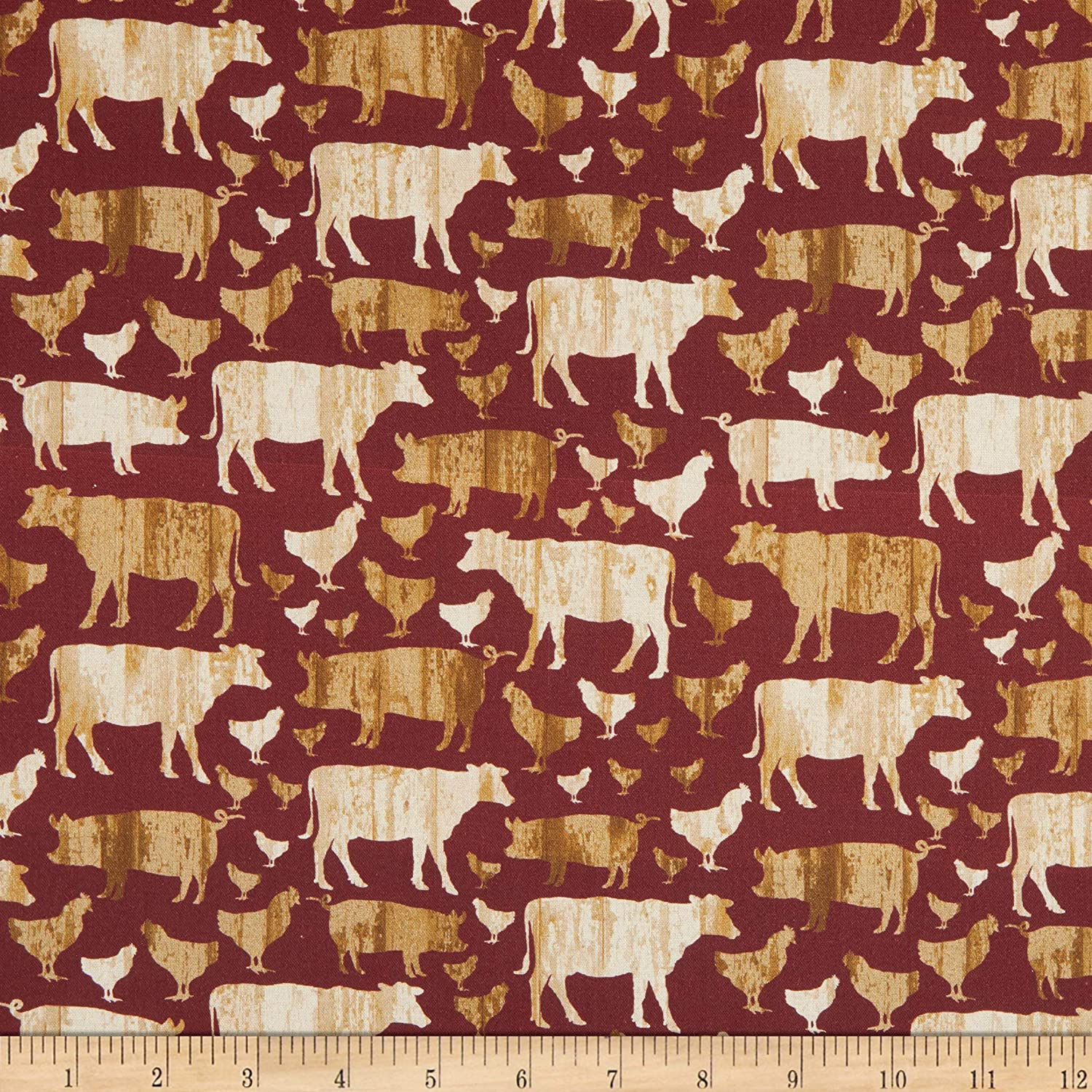 Benartex Quilter Barn Prints Large Farm Animals Red Fabric by the Yard