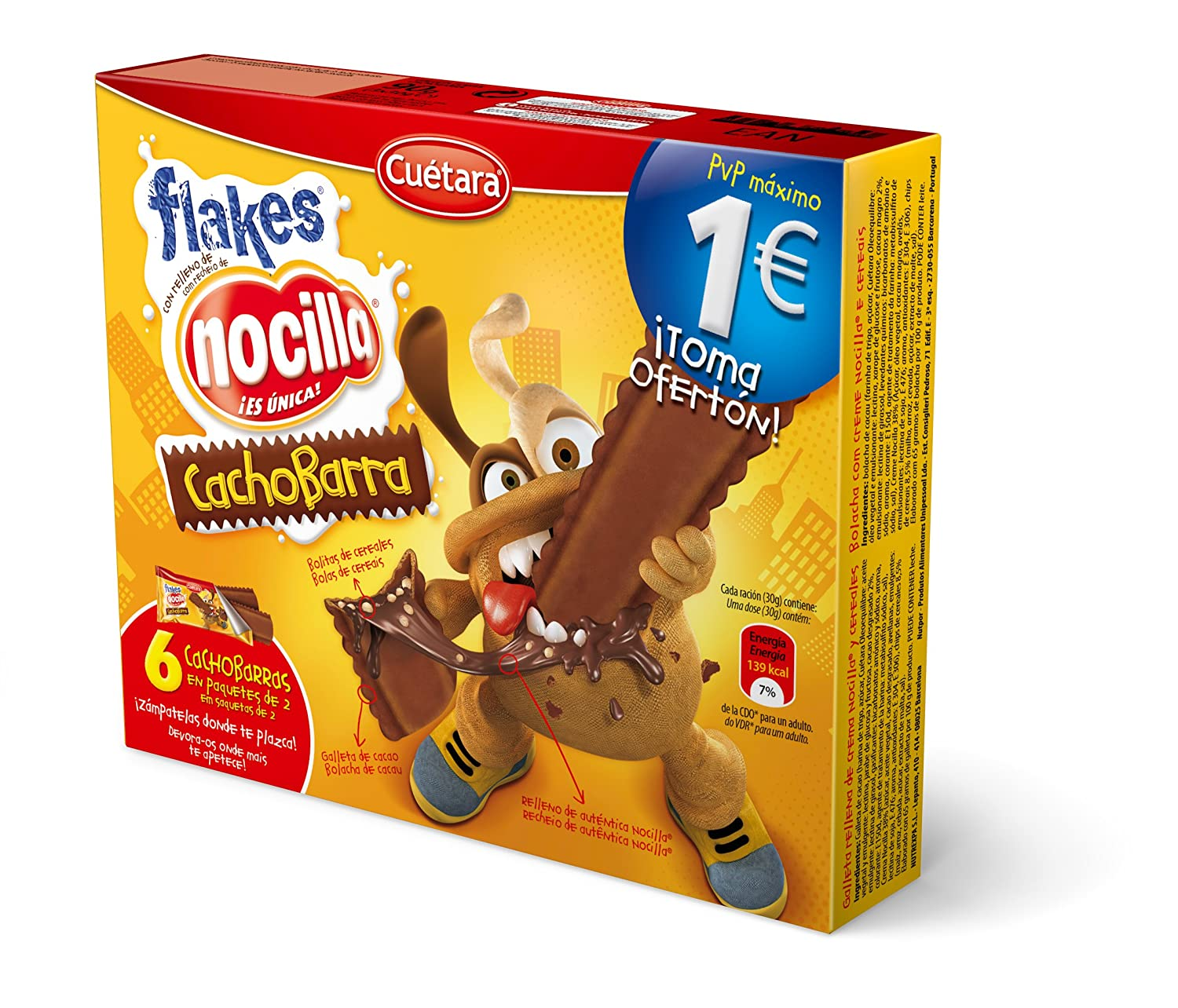 Cuetara ChocoBarra Galleta Rellena de Crema Nocilla y Cereales - Pack de 3 x 30 g - Total: 90 g: Amazon.es: Amazon Pantry