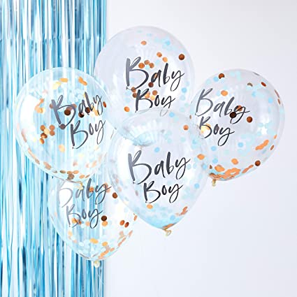 1608a317a Image Unavailable. Image not available for. Color  Ginger Ray Blue   Rose  Gold Baby Boy Confetti Balloons Baby Shower Party Decoration ...