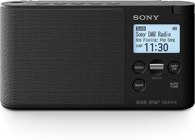 Sony XDRS41DB8 - Radio portátil Digital (Dab/Dab+/FM, Altavoz, 5 presintonías Digitales y 5 analógicas, Pantalla LCD, Temporizador, Adaptador CA) Negro