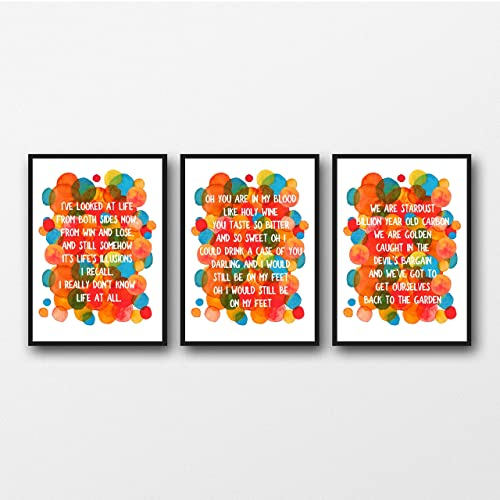 Amazon com: Set of 3 Joni Mitchell Lyrics - Unframed Prints