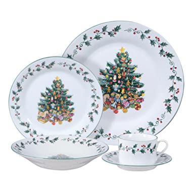 Gibson Home Tree Trimming 20-Piece Ceramic Dinnerware Set, White