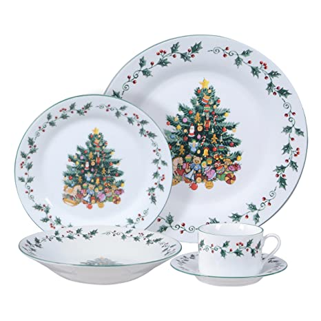 Gibson Home Tree Trimming 20-Piece Ceramic Dinnerware Set White  sc 1 st  Amazon.com & Amazon.com: Gibson Home Tree Trimming 20-Piece Ceramic Dinnerware ...