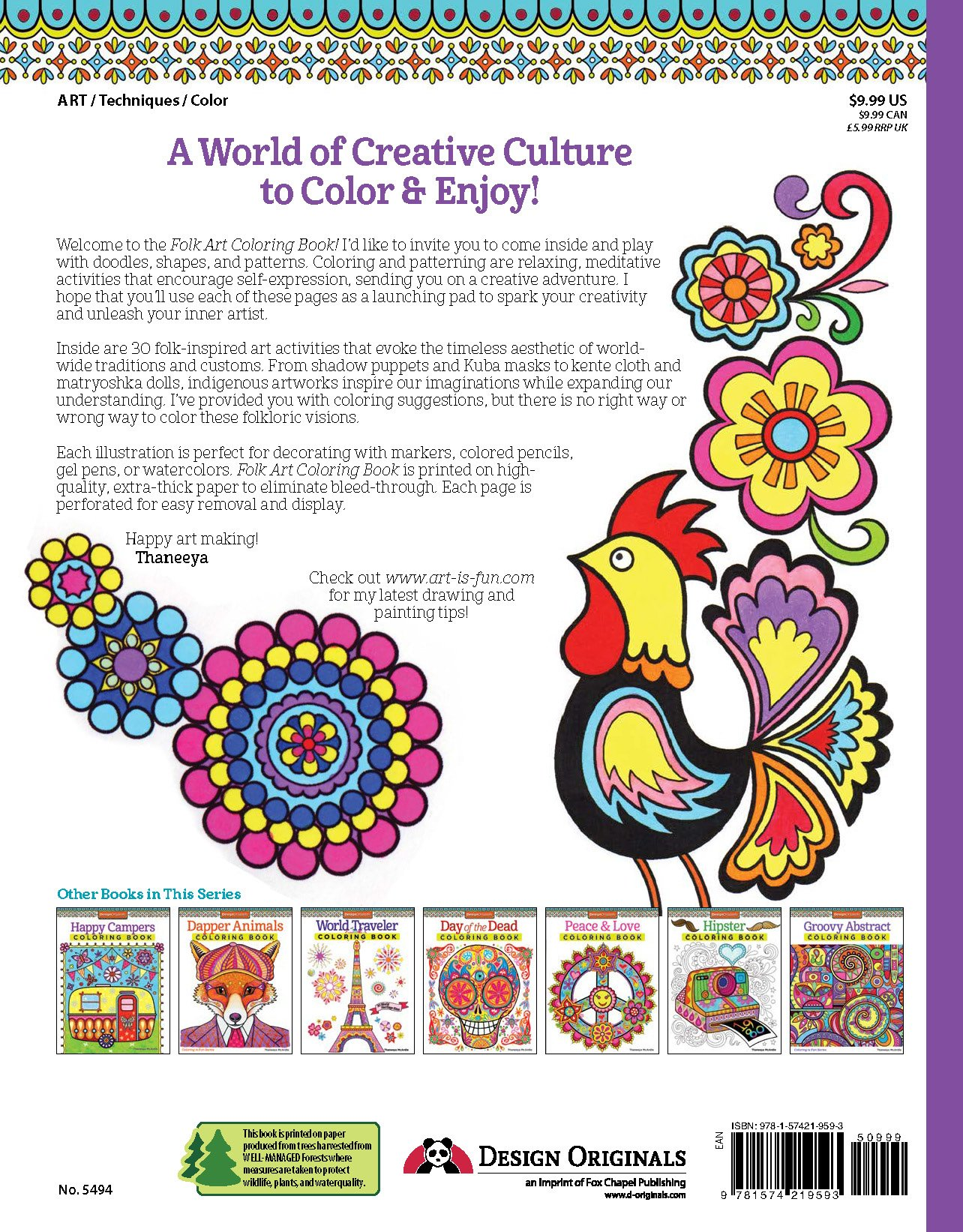 Amazon Folk Art Coloring Book Design Originals Is Fun 9781574219593 Thaneeya Mcardle Books