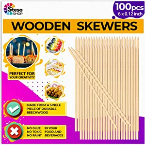 StesoSHOP Wooden Skewers Premium Quality - Set of 100 Beech Wooden Sticks for Appetizers, Fruits, Kebab - Wooden Skewers Food 6-Inch 1/8 for Chocolate Fruit Corn Dogs - Wood Crafts Project (100)