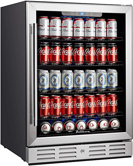 Amazon Com Kalamera 24 Inch Beverage Refrigerator 175 Cans Capacity Beverage Cooler Fit Perfectly Into 24 Space Built In Counter Or Freestanding For Soda Water Beer Or Wine For Kitchen