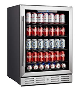 Kalamera Beverage Cooler and Fridge - Fit Perfectly into 24 inch Space Under Counter or Freestanding - 154 Cans Capacity - for Soda, Water, Beer or Wine - For Kitchen or Bar with Blue Interior Light
