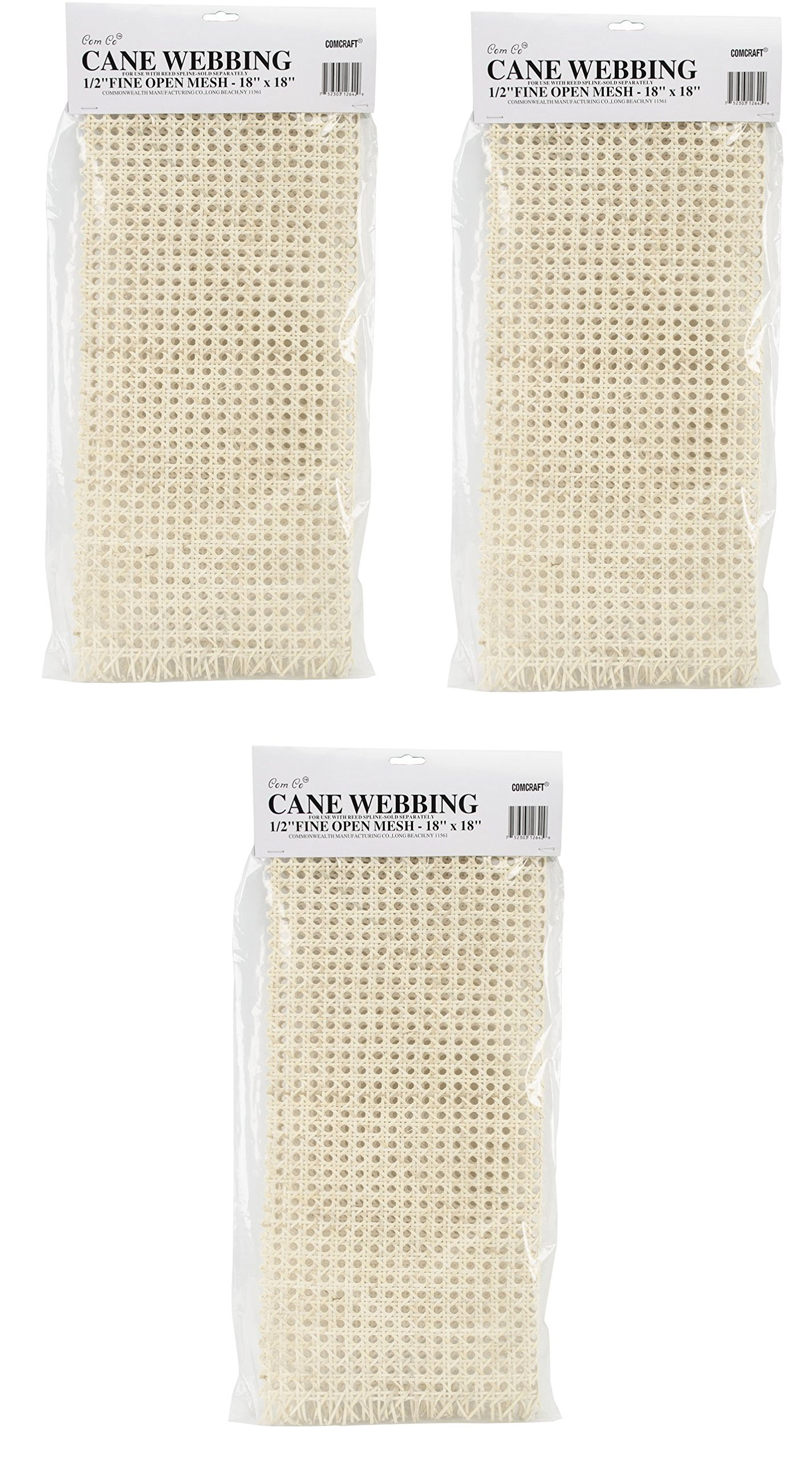 Commonwealth Basket Cane Webbing 1/2-Inch Fine Open Mesh 18-Inch by 18-Inch, Natural (3 pack) by Commonwealth Basket