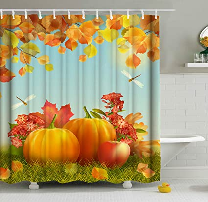 ShineSnow Harvest Autumn Pumpkin Apple Dragonfly Fall Leaves Thanksgiving Shower Curtain Set 60 X 72 Inches