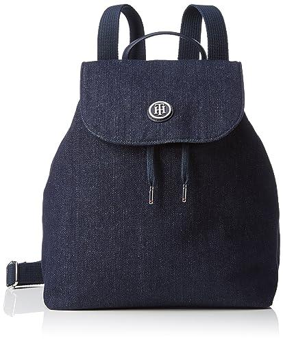 Tommy Hilfiger AW0AW03454 - Bolso de Mochila de algodón Mujer, Color Azul, Talla 29x36x15
