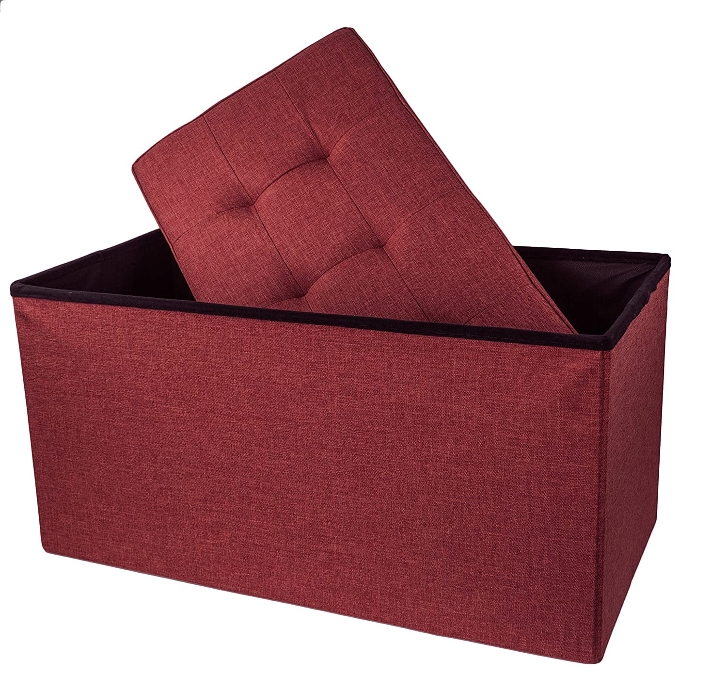 "Upholstered Folding Storage Ottoman with Padded Seat, 30"" x 16"" x 16"" - Burgundy"