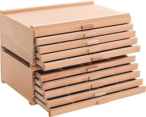 U.S. Art Supply - Caja de almacenamiento, 4 cajones, madera, para artistas, pasteles, lápices, bolígrafos, marcadores, pinceles: Amazon.es: Juguetes y juegos