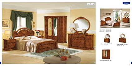 Amazon.com: ESF MILADY Classic Walnut Italian Lacquered King ...