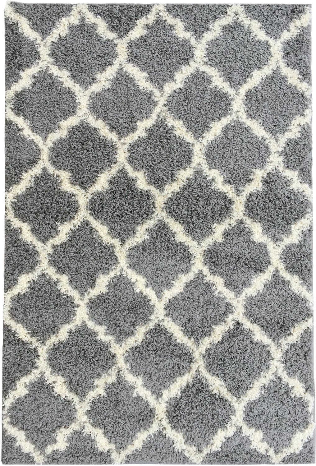 Ottomanson Ultimate Shaggy Collection Moroccan Trellis Design Shag Rug Contemporary Bedroom and Living room Soft Shag Rugs, Grey, 5'3'' L x 7'0'' W