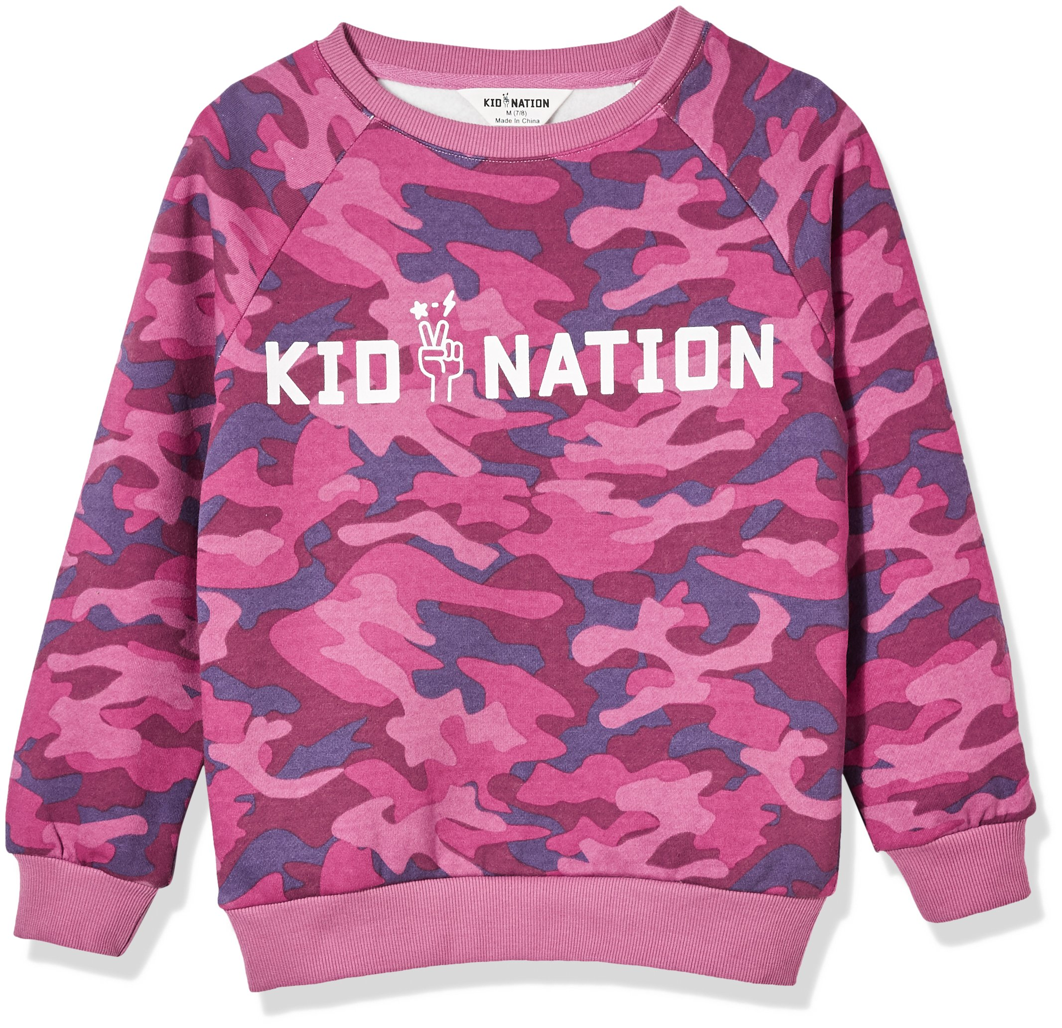 Kid Nation Kids' Allover Printed Graphic Camo Pullover Sweatshirt for Boys Or Girls L Purple …