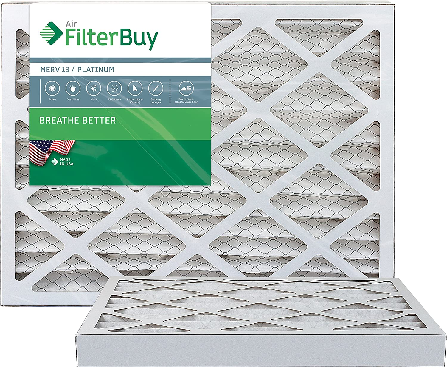 FilterBuy 20x25x2 MERV 13 Pleated AC Furnace Air Filter, (Pack of 2 Filters), 20x25x2 – Platinum