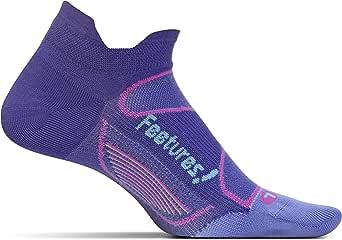 Feetures Elite Ultra Light No Show Tab Black-Electric Orange